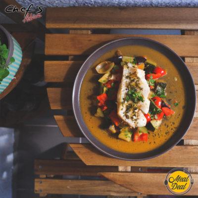 Рецепт - Рататуй с треской и лимонным соусом