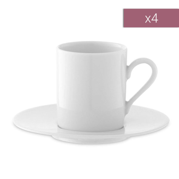Набор из 4-х фарфоровых кофейных пар Dine 90 мл, P055-01-997, LSA International