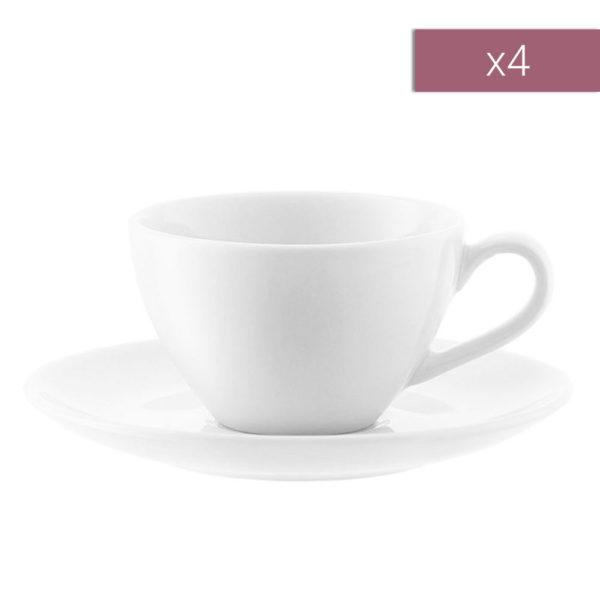Набор из 4-х фарфоровых чашек для эспрессо с блюдцем Dine 100 мл, P019-04-997, LSA International
