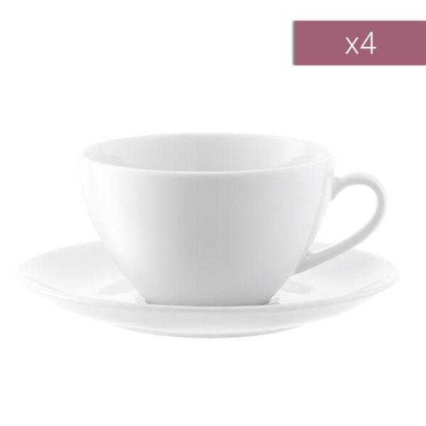Набор из 4-х фарфоровых чайных пар Dine 220 мл, P019-07-997, LSA International