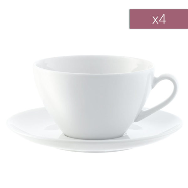 Набор из 4-х фарфоровых кофейных пар для капучино Dine 350 мл, P019-13-997, LSA International