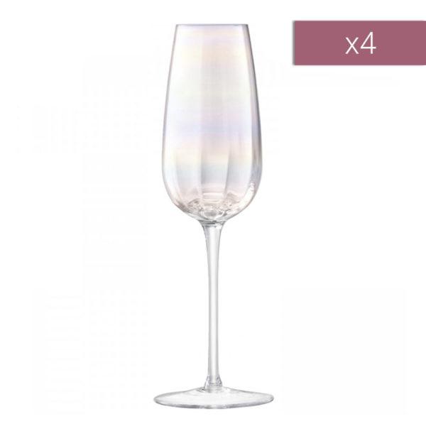 Набор из 4-х бокалов для шампанского Pearl 250 мл, G1332-09-401, LSA International