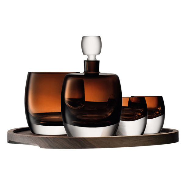 Набор для виски из 2-х стаканов, штофа и ведерка для льда на подносе Whisky Club, G1537-00-866, LSA International