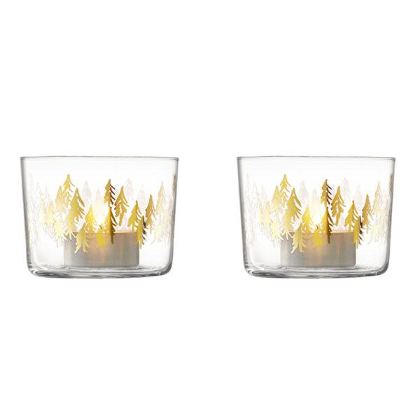 Набор из 2-х стеклянных подсвечников Fir Metallic, G060-07-157, LSA International