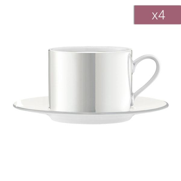 Набор из 4-х фарфоровых чайных пар Pearl 250 мл, P034-11-363, LSA International