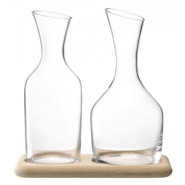 Набор из 2-х стеклянных графинов на дубовой подставке Wine 1.2 л и 1.4 л, G1166-00-991, LSA International