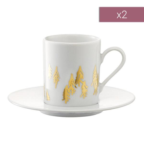 Набор из 2-х фарфоровых чашек для кофе с блюдцами Fir Metallic 100 мл, P263-04-157, LSA International