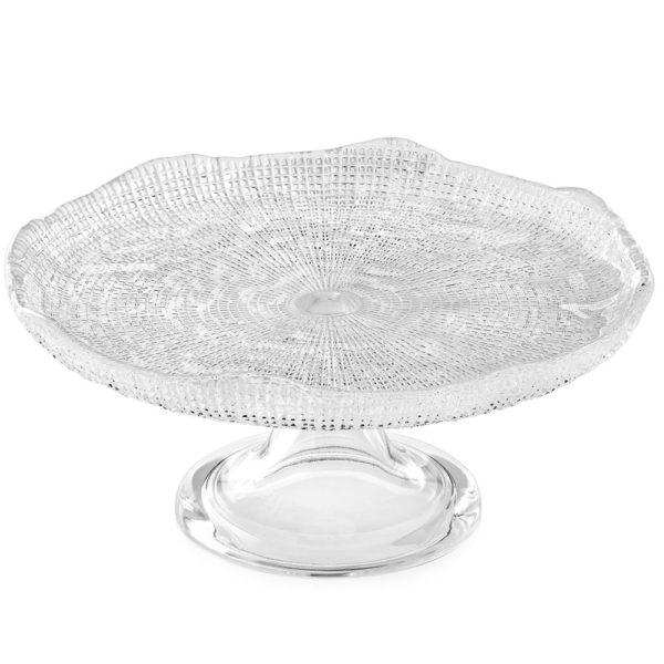 Стеклянное блюдо для торта (тортовница) на ножке Diamante 25 см, 5541.1, IVV