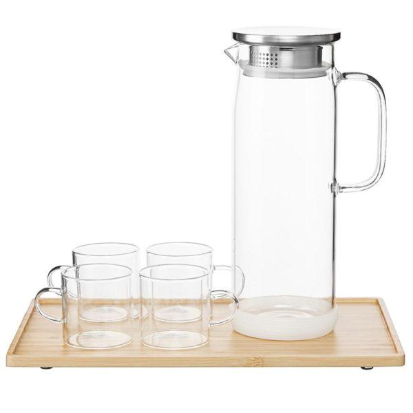 Набор посуды для чаепития, высокий чайник, 4 чашки и поднос, TG-001set, Smart Solutions