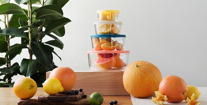 Набор круглых стеклянных контейнеров для продуктов с крышкой 4 шт, JV501RD, Smart Solutions
