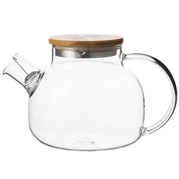 Стеклянный заварочный чайник с деревянной крышкой 1 л, TGS-1000, Smart Solutions